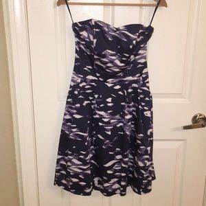 H&M strapless dress in blue and purple print
